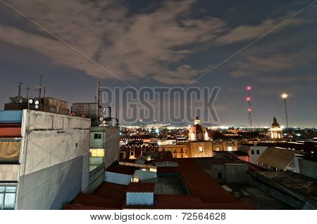 night view of skyline in Mexico City