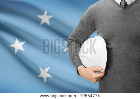 Architect With Flag On Background  - Federated States Of Micronesia
