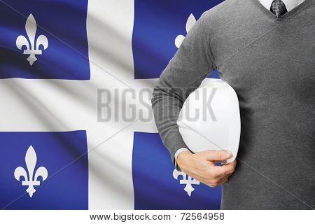 Architect With Canadian Provinces And Territories Flag On Background  - Quebec