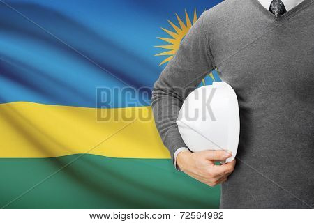 Architect With Flag On Background  - Rwanda