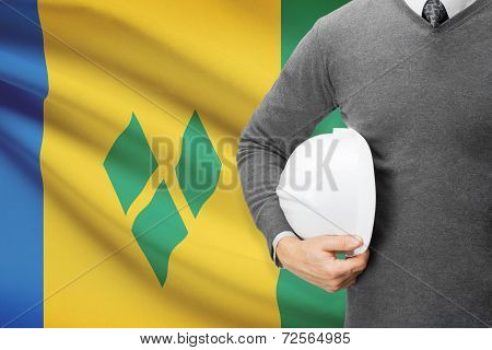 Architect With Flag On Background  - Staint Vincent And The Grenadines