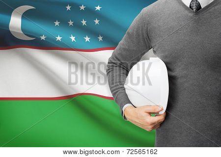 Architect With Flag On Background  - Uzbekistan