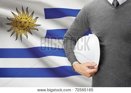 Architect With Flag On Background  - Uruguay
