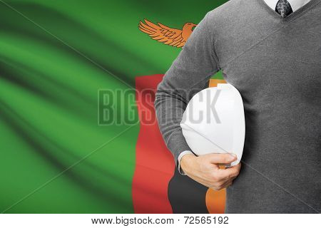 Architect With Flag On Background  - Zambia