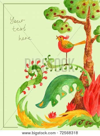 tree with fruit, green bushes and bird