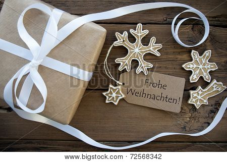Christmas Gift And Cookies With Frohe Weihnachten Label