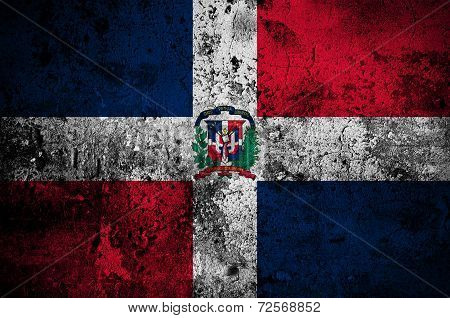 Grunge Flag Of The Dominican Republic With Capital In Santo Domingo