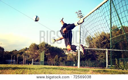 Goalie stops a ball