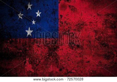 Grunge Flag Of Samoa With Capital In Apia