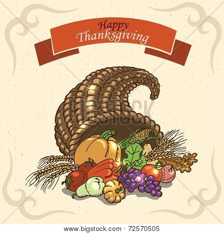 Thanksgiving Day. Greeting Card On Paper Background