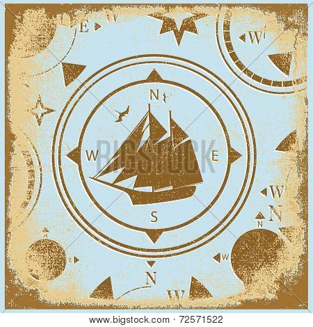 Ship Retro Shabby Paper Compasses Stylized Silhouette