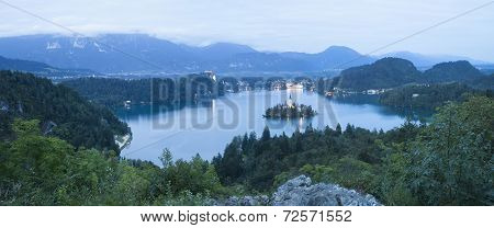 Bled lake at night