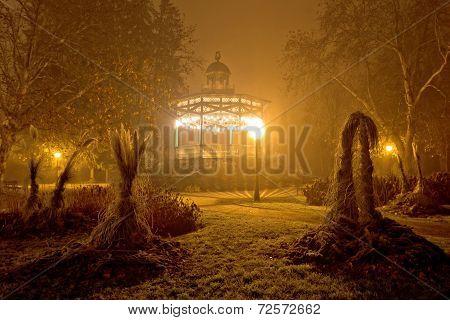 Foggy Night View Of Park Pavillion
