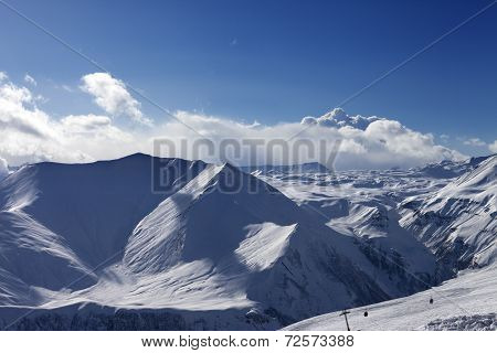 Winter Mountains At Evening