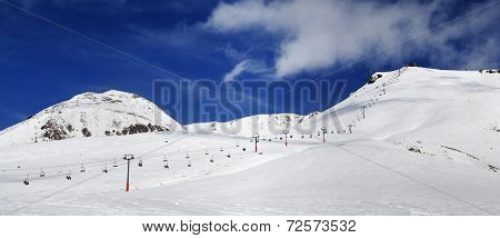 Panorama Of Ski Slope At Sunny Winter Day