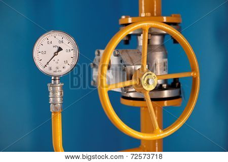 Valve with gauge MP-100. Grade gas distribution point