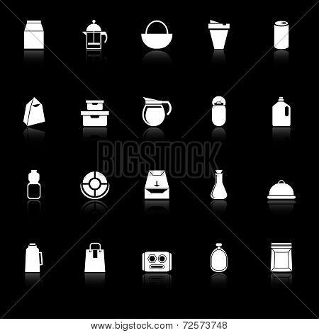 Variety Food Package Icons With Reflect On Black Background