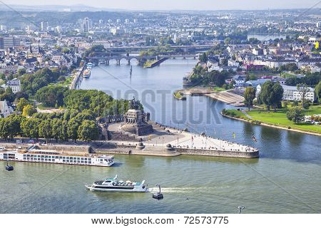 Deutsches Eck - Monument At The Confluence Of Rivers In Koblenz