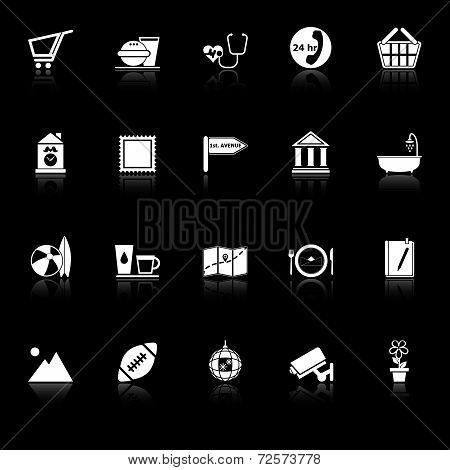 Public Place Sign Icons With Reflect On Black Background