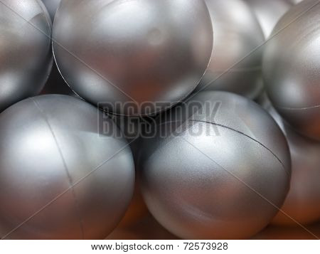 Silver balls made of plastic