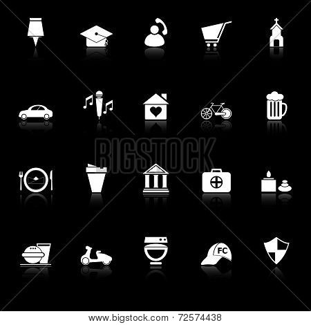 Map Sign And Symbol Icons With Reflect On Black Background