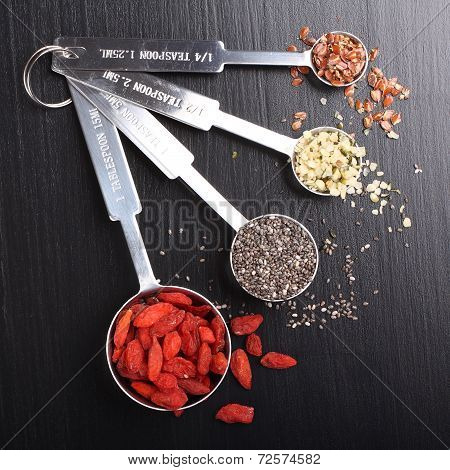Superfoods In Measuring Spoons