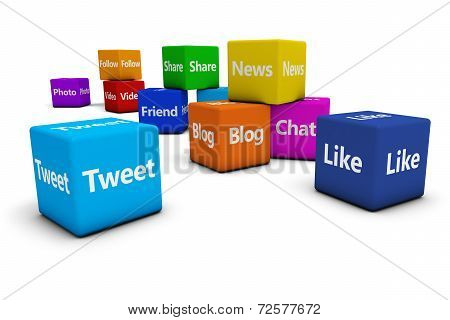 Web Social Media Signs On Cubes