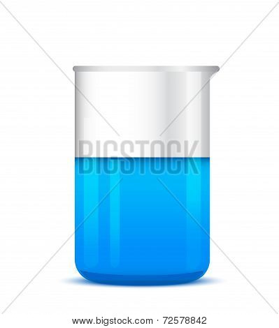 Illustration Of Chemical Beaker With Solution On White Background