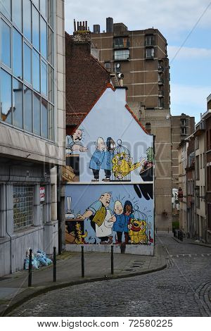 Comic Strip Mural Painting In Brussels, Belgium
