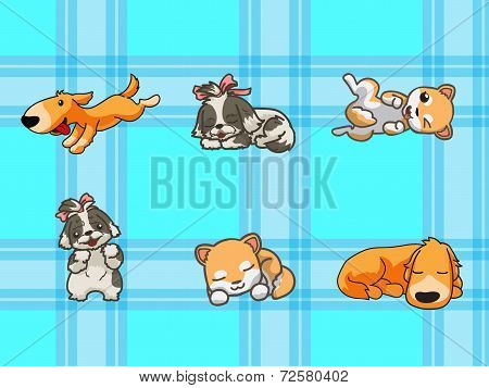 cute dogs with seamless pattern
