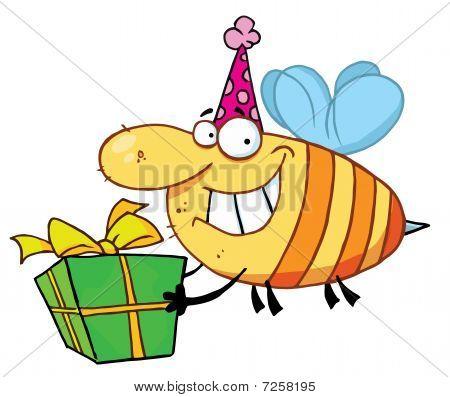 Happy Birthday Biene trägt einen Partyhut und fliegen mit einem Geschenk