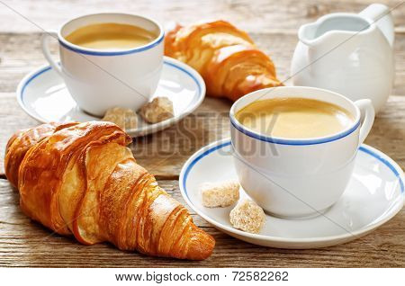Fresh Breakfast With Croissants, Espresso And Milk
