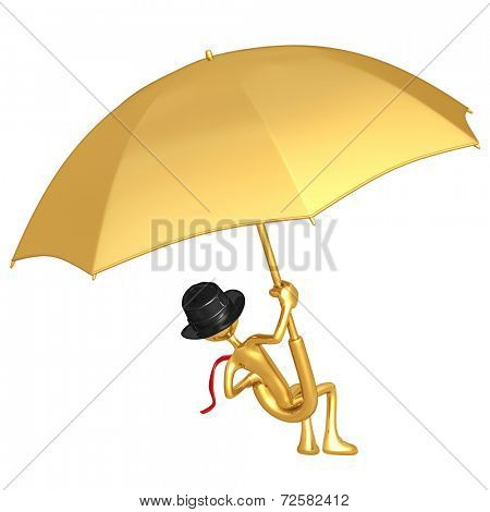Businessman Flying On A Giant Umbrella