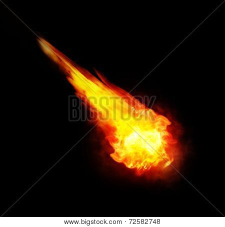 Ball Of Fire (fireball) On Black Background