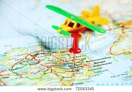 Belfast  Ireland  ,united Kingdom  Map Airplane