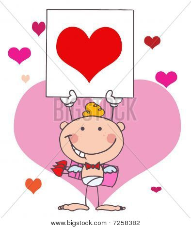 Cartoon Stick Cupid with Banner Heart