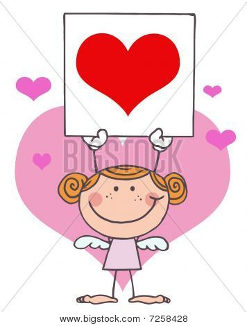 Stick Girl Cupid Holding A Red Heart Sign