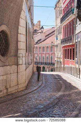 Old Narrow Street In Lisbon