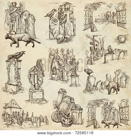 Halloween, Cemeteries - An Hand Drawn Vector Pack