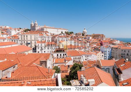 View Of The Alfama District In Lisbon