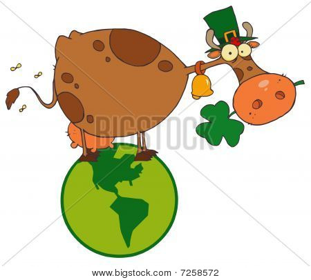 St. Patrick Day Cow with Shamrocks in Mouth and Hat in Globe