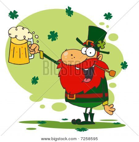 Toasting Leprechaun Holding Up Beer