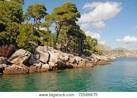 Beautiful Summer Landscape With Turquoise Sea And Pine Tree. Digital Painting