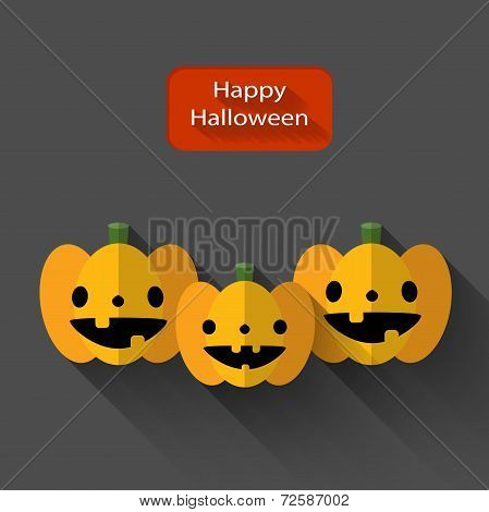 Happy Halloween Trio Pumpkins Flat Illustration