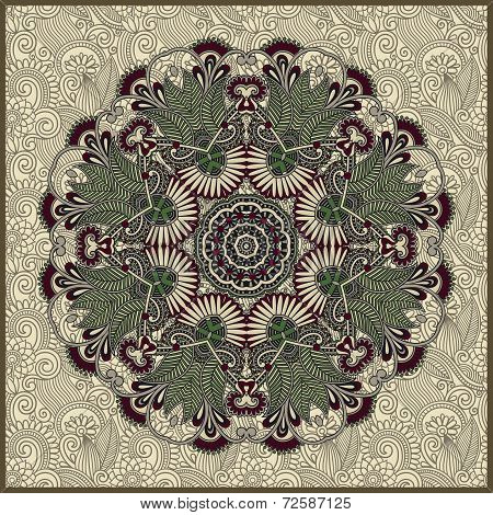 ornamental round lace in ornamental floral background