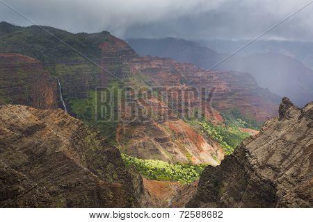 Waimea Canyon waterfall and rain storm