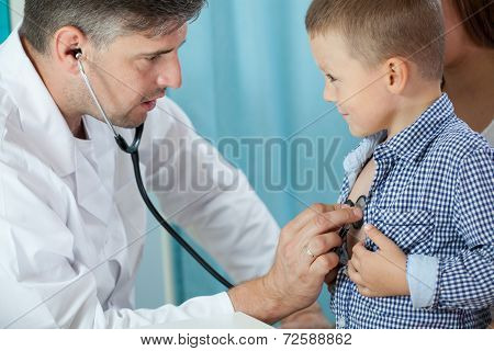 Pediatrician Listening Preschooler Heart