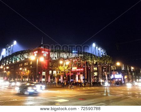 Outside At&t Park At Night As Light Shine Into Stadium During Sporting Event