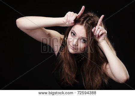 Funny Teen Girl Making Devil Horns