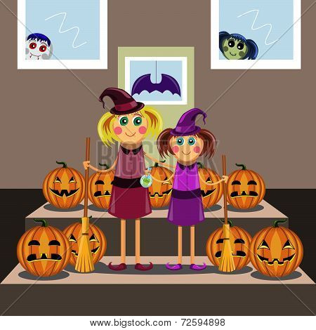 Little Girls In Suits Of The Witch Among Pumpkins Celebrate A Halloween